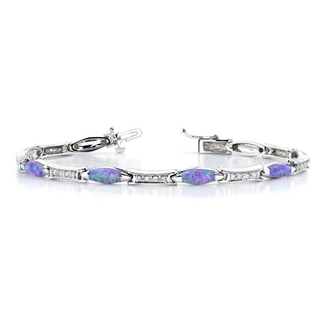 Diamond Bracelet With Pink Opal - 6233B Image 1