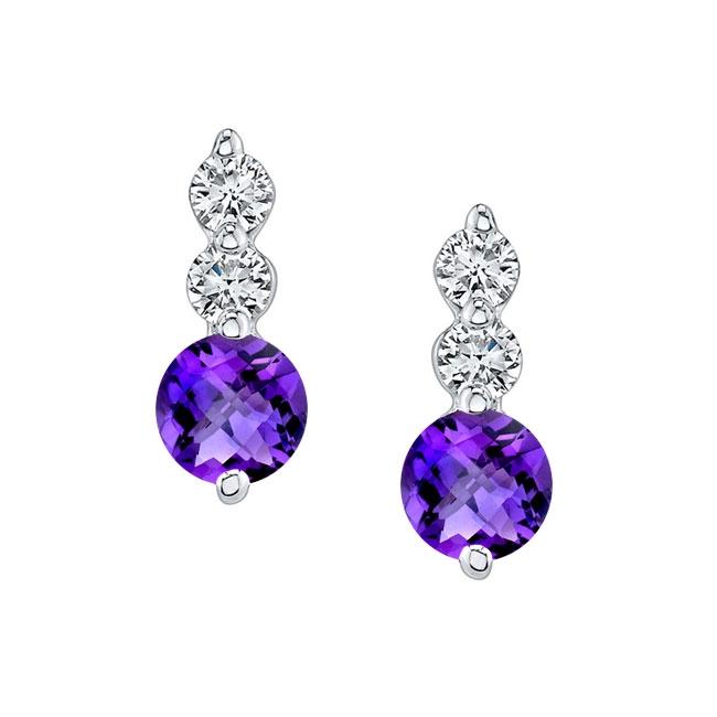 White Gold Amethyst & Diamond Earrings AM-5593ER Image 1