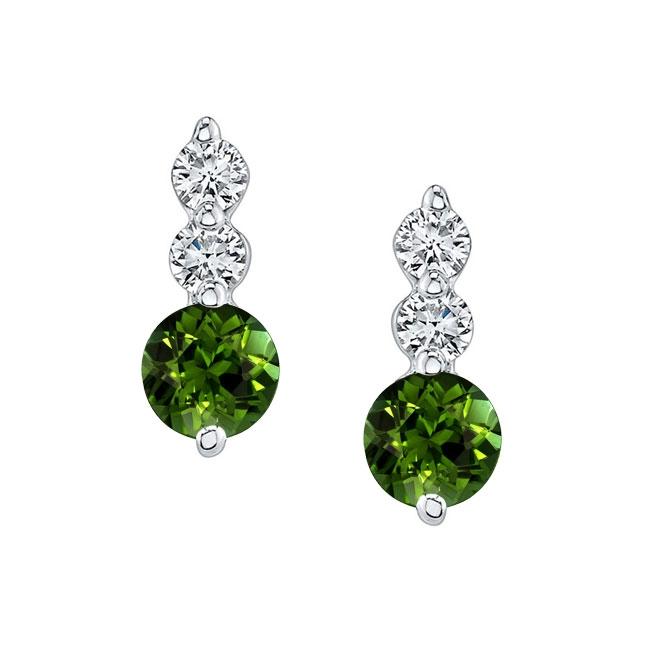 White Gold Green Tourmaline & Diamond Earrings GT-5593ER Image 1