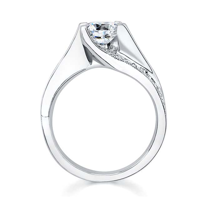 Diamond and Moissanite Engagement Ring MOI-7171L Image 2