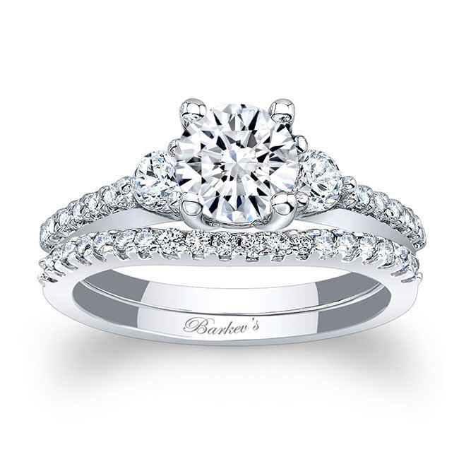 3 Stone Wedding Ring Set Image 1
