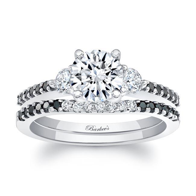 3 Stone Black Diamond Wedding Set Image 1