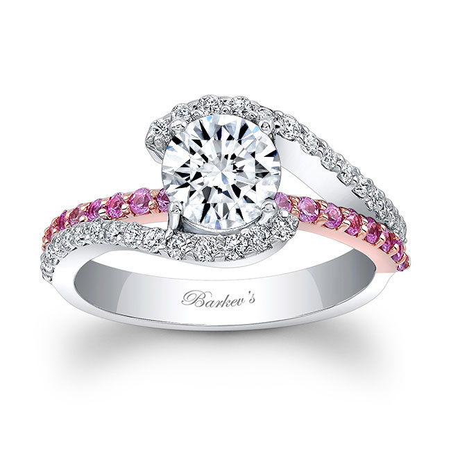 1 Carat Diamond And Pink Sapphire Ring Image 1