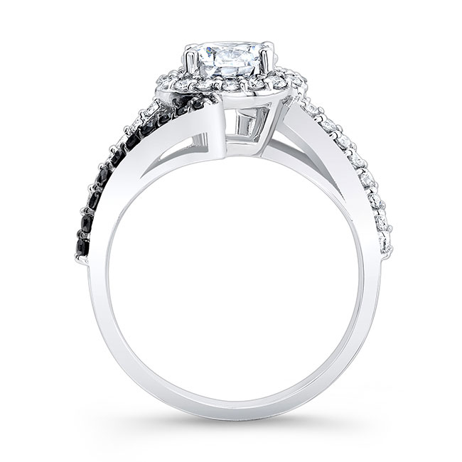 Contemporary Black And White Diamond Engagement Ring Image 2