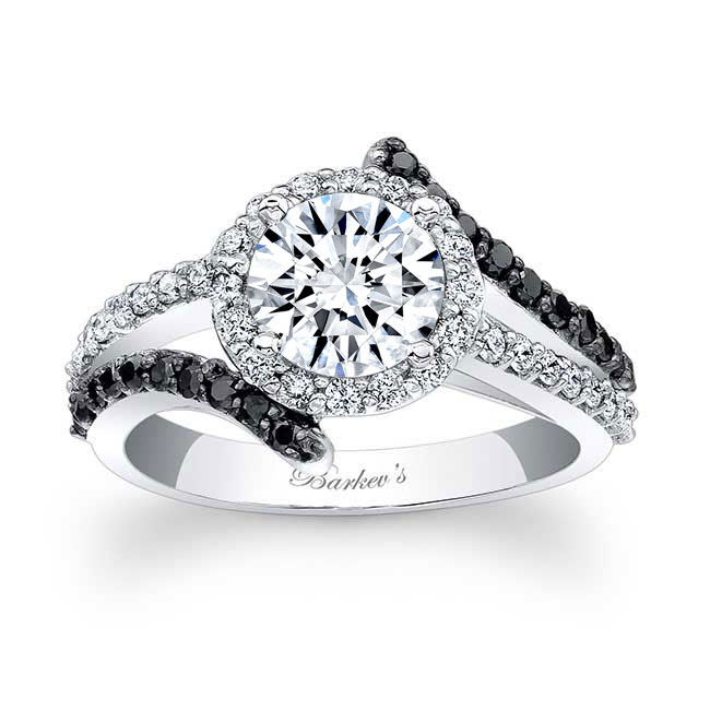 Contemporary Black And White Diamond Engagement Ring Image 1