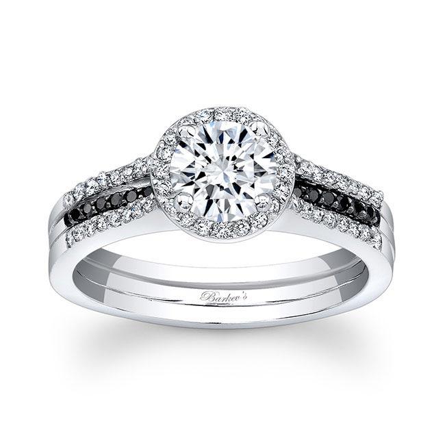 Moissanite and Black Diamond Bridal Set MOI-7875SBK Image 1