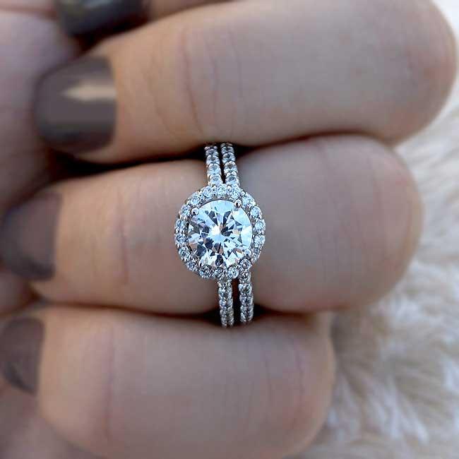 Halo Wedding Ring Set Image 2
