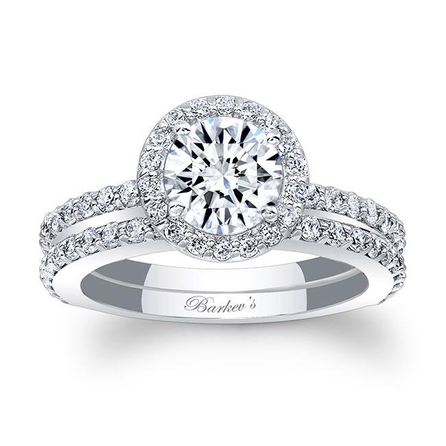 Halo Wedding Ring Set Image 1