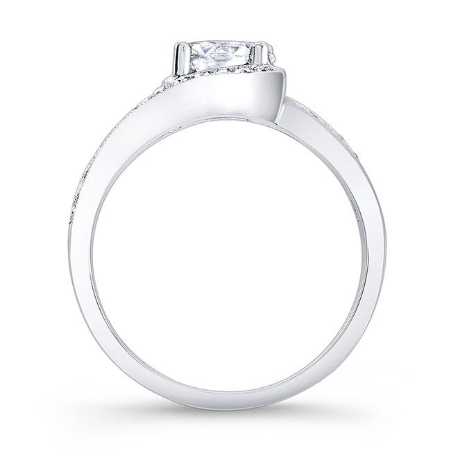 Moissanite and Black Diamond Engagement Ring MOI-7898LBK Image 2