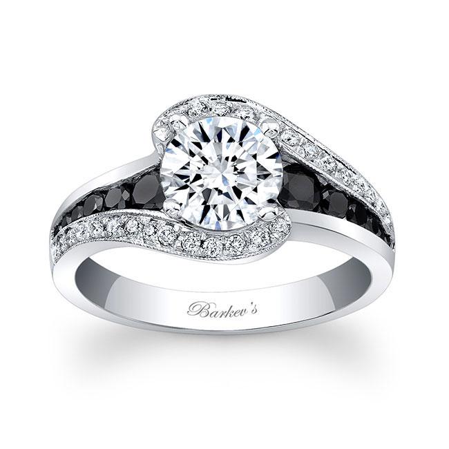 Moissanite and Black Diamond Engagement Ring MOI-7898LBK Image 1