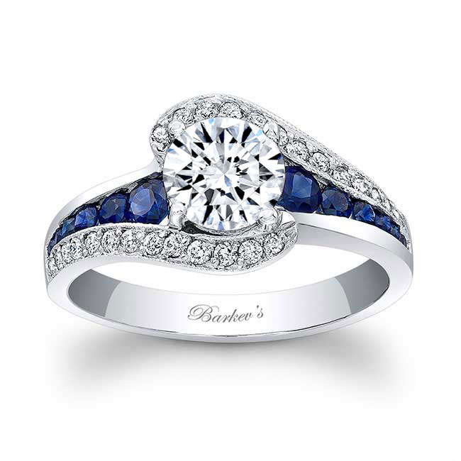 Moissanite and Blue Sapphire Engagement Ring MOI-7898LBS Image 1