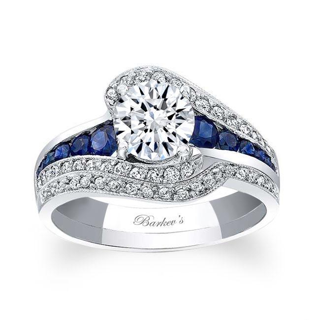Unique Blue Sapphire Accent Bridal Set Image 1
