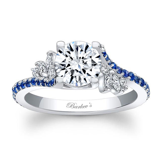 1.00ct. Round & Marquise Engagement Ring With Blue Sapphire 7908LBS Image 1