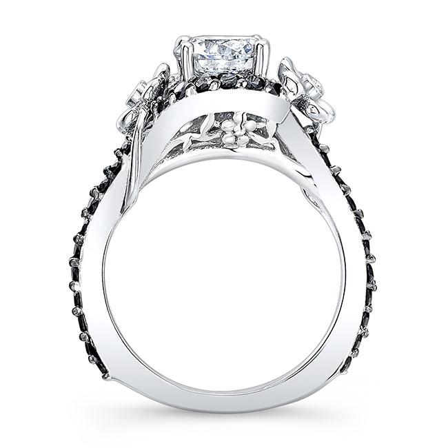 Moissanite Flower Engagement Ring With Black Diamonds MOI-7936LBK Image 2