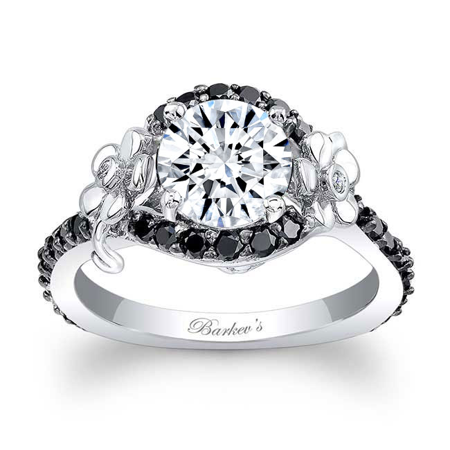 Moissanite Flower Engagement Ring With Black Diamonds MOI-7936LBK Image 1