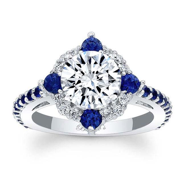 2 Carat Halo Sapphire And Diamond Ring Image 1