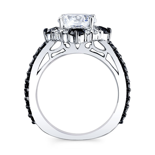 2 Carat Halo Black And White Diamond Set With 2 Bands Image 2