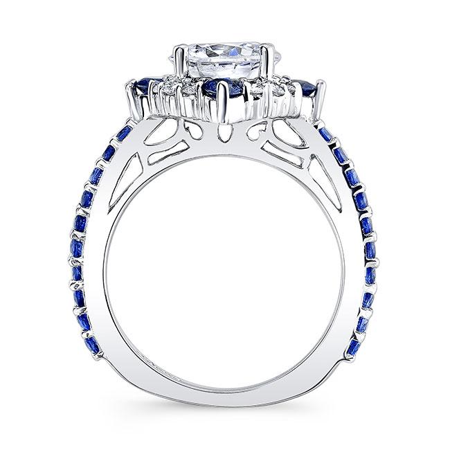 2 Carat Halo Sapphire And Diamond Bridal Set Image 2