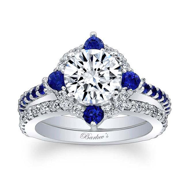 2 Carat Halo Sapphire And Diamond Bridal Set Image 1