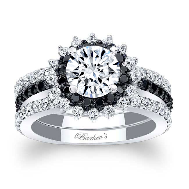 Black Diamond Sunflower Ring With Two Bands Image 1