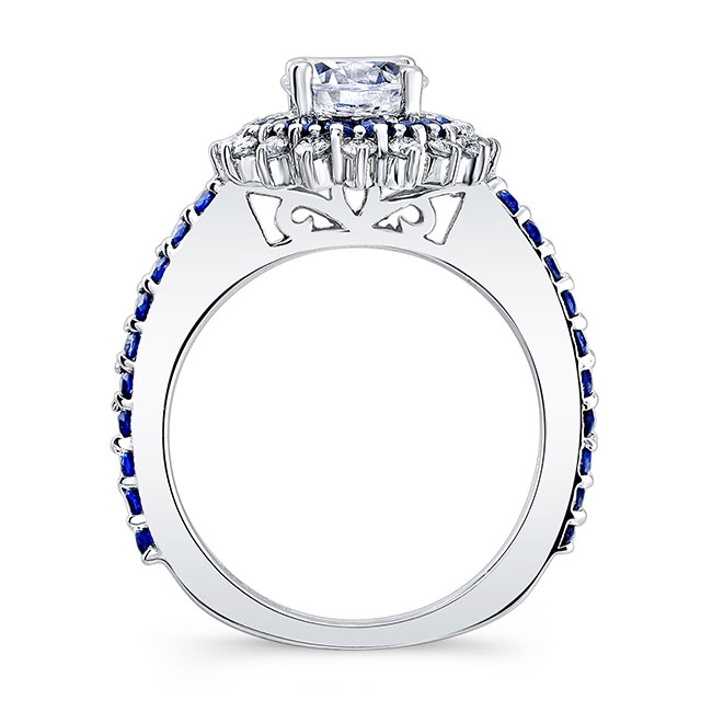 Sapphire Sunflower Ring With Two Bands Image 2