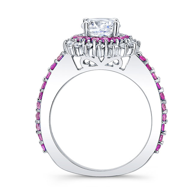 Pink Sapphire Sunflower Ring With Two Bands Image 2