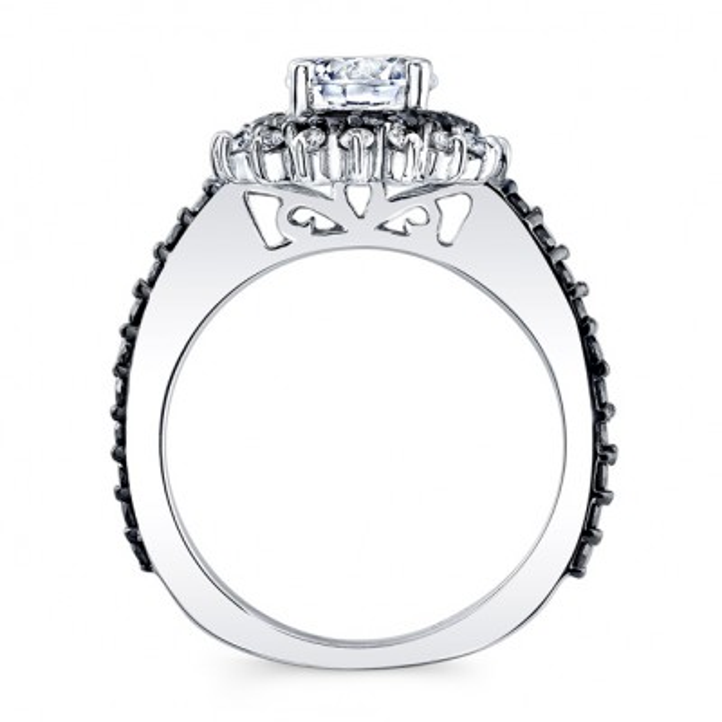 Black Diamond Sunflower Wedding Ring Set Image 2