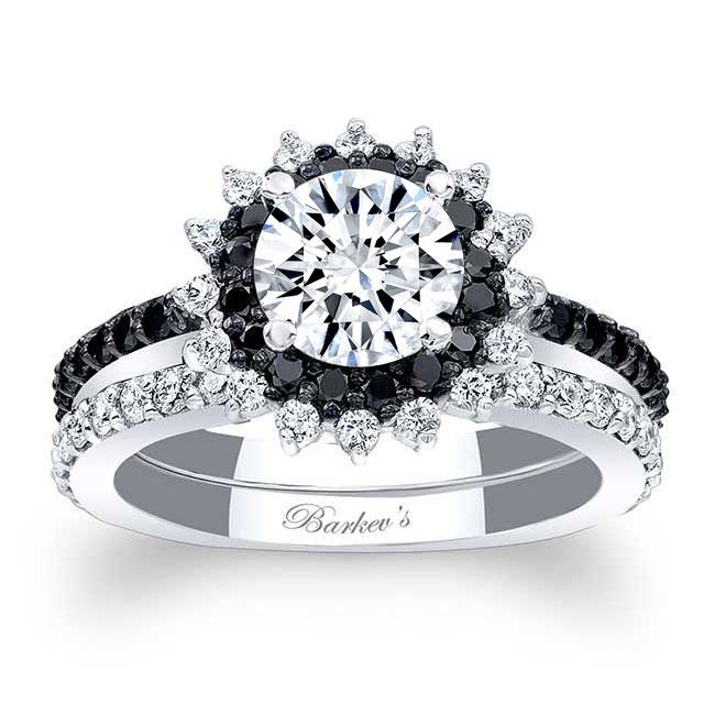 Black Diamond Moissanite Sunflower Wedding Set Image 1