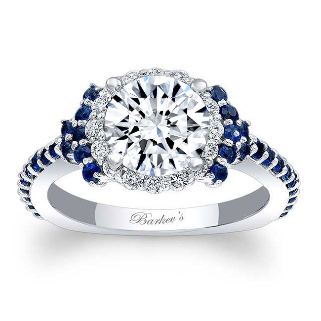 Blue Sapphire Accent Cluster Ring Image 1