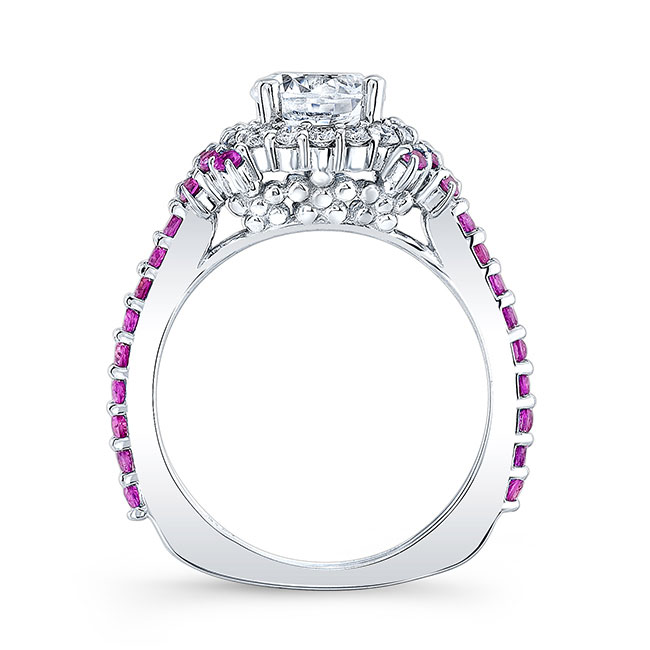 Pink Sapphire Accent Cluster Ring Image 2