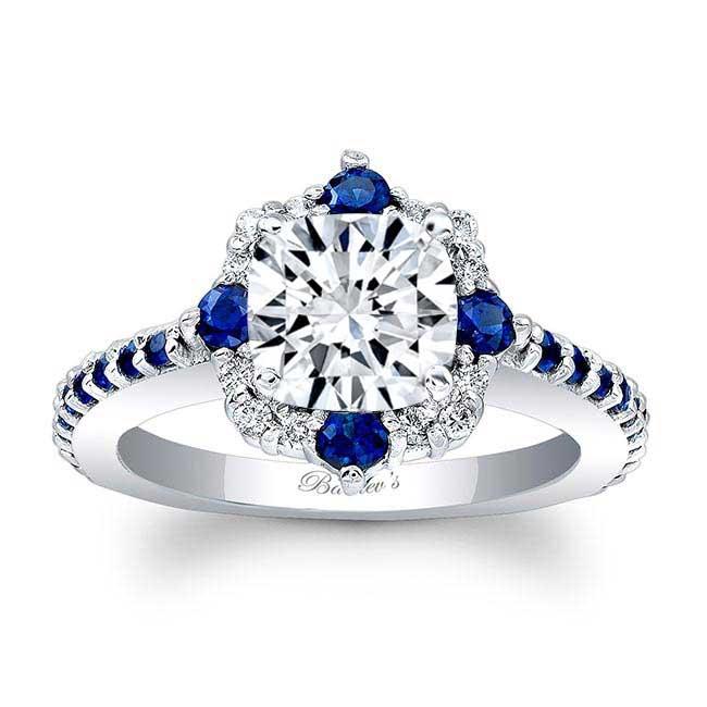Cushion Cut Halo Sapphire And Diamond Ring Image 1