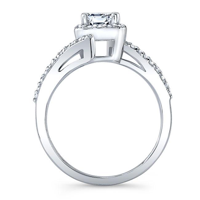 Emerald Cut Moissanite Halo Engagement Ring Image 2