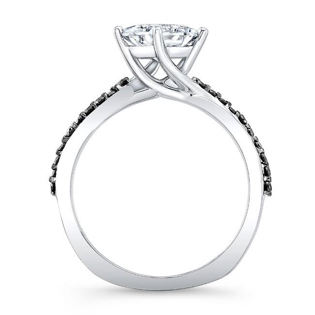 Black Diamond Princess Cut Moissanite Twist Ring Image 2