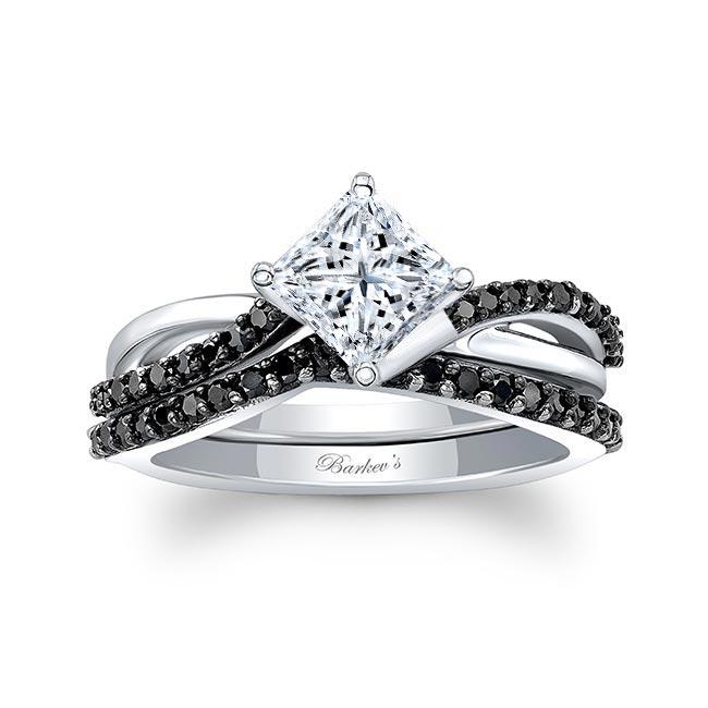 Princess Cut Black Diamond Accent Twist Bridal Set Image 1