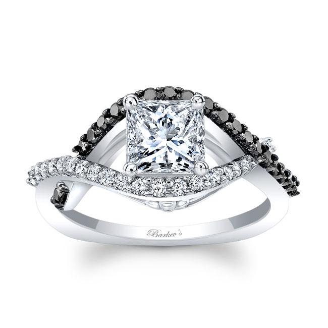 Black Diamond Princess Cut Engagement Ring 8081LBK Image 1