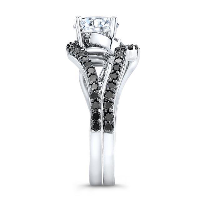 Split Shank Moissanite And Black Diamond Bridal Set Image 3