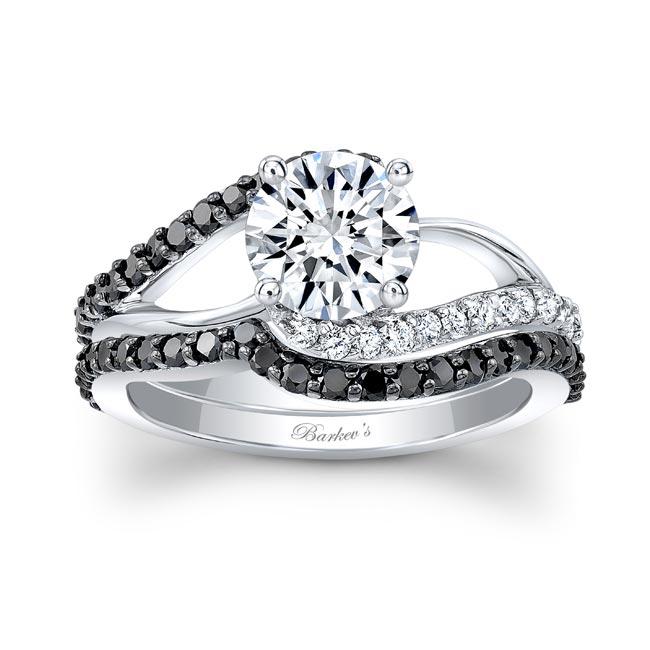 Split Shank Moissanite And Black Diamond Bridal Set Image 1