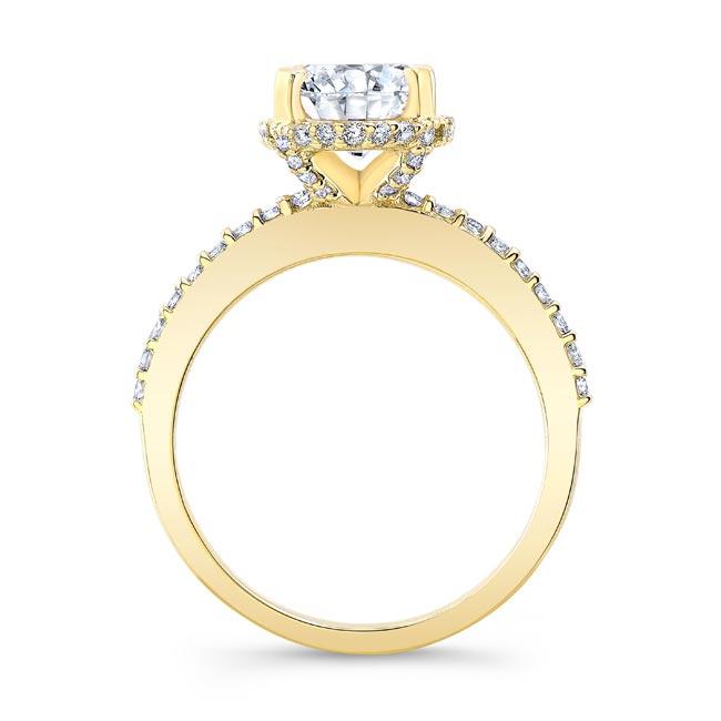 Hidden Halo Oval Moissanite Engagement Ring Image 2