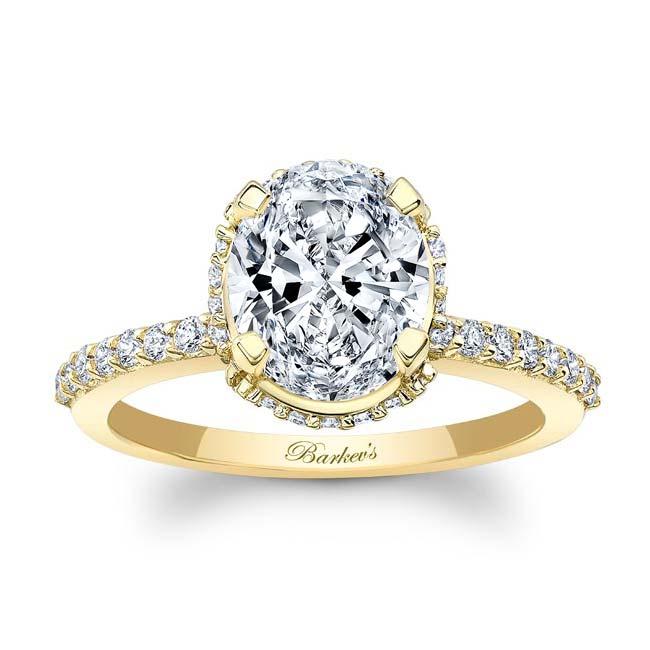 Hidden Halo Oval Moissanite Engagement Ring Image 1