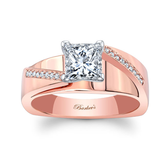 Princess Cut Pave Engagement Ring Image 1