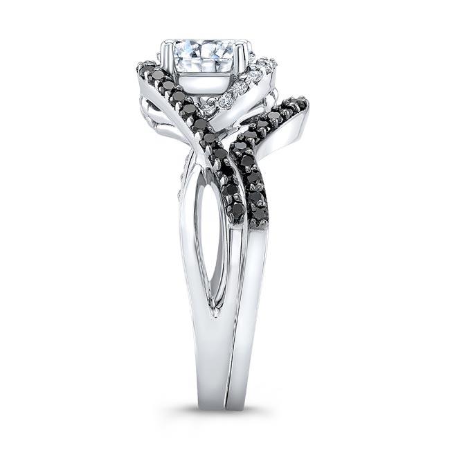 Twisted Halo Black Diamond Wedding Set Image 3