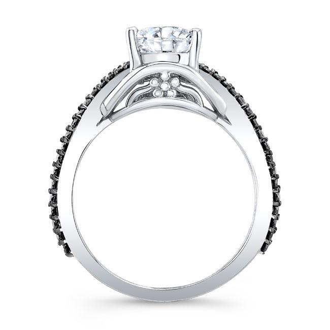 Unique Pear Shaped Black Diamond Accent Ring Image 2