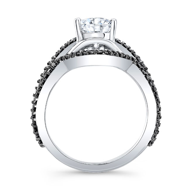 Unique Pear Shaped Black Diamond Wedding Set Image 2