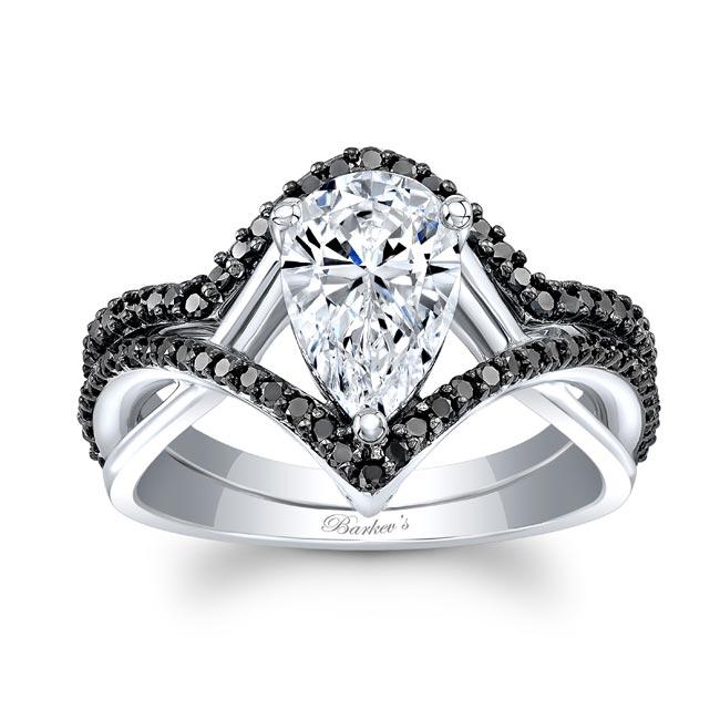 Unique Pear Shaped Black Diamond Wedding Set Image 1