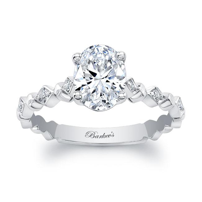 Art Deco Oval Moissanite Engagement Ring Image 1