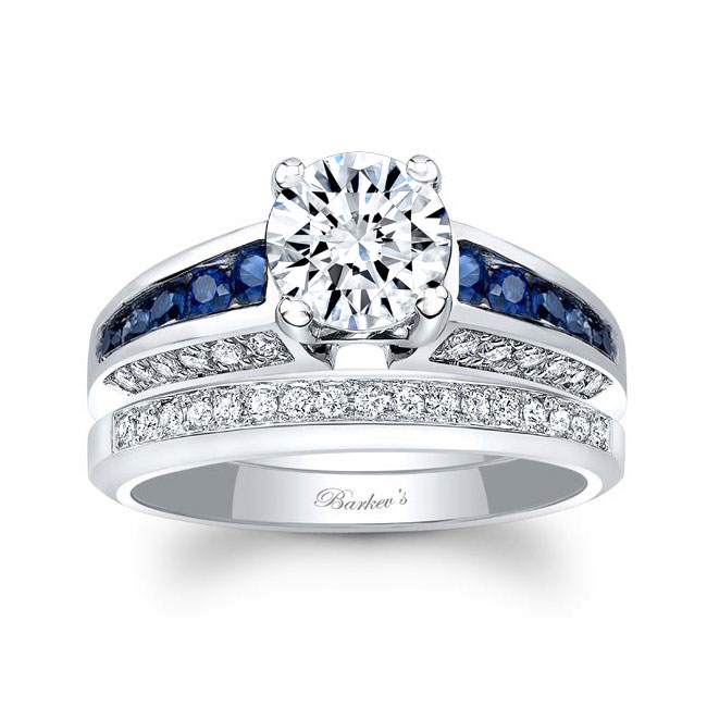 Channel Blue Sapphire Wedding Ring Set Image 1