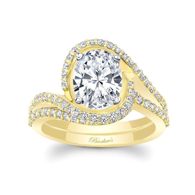 2 Carat Oval Wedding Ring Set Image 1