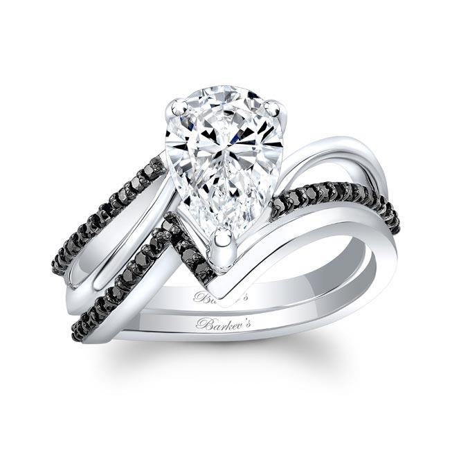 Black Diamond Split Shank Pear Bridal Set Image 1