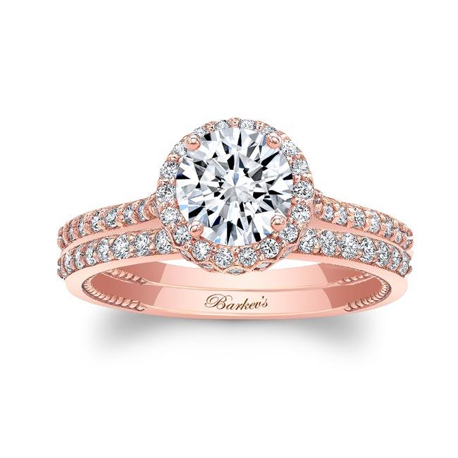 Round Halo Diamond Wedding Set