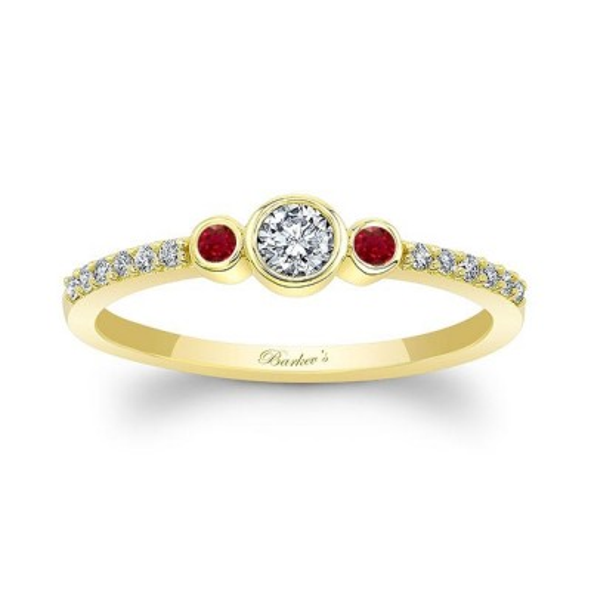 Mia Three Stone Ruby Diamond Promise Ring Image 1